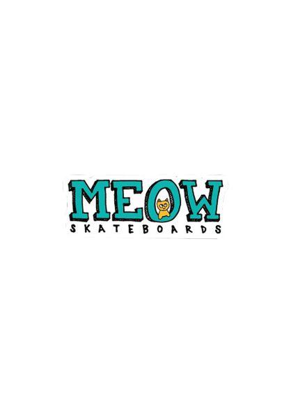 Meow Skateboards Verschiedenes Logo Sticker white-teal vorderansicht 0972743