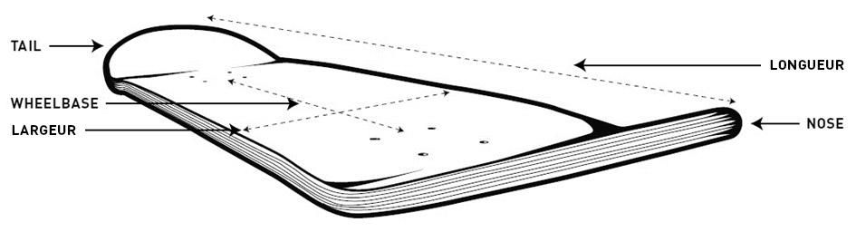 Zusammensetzung eines Skateboard-Decks: Nose, Tail und Wheelbase