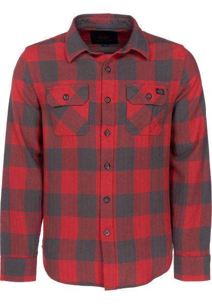 Dickies Hemden langarm DMO red-grey Vorderansicht