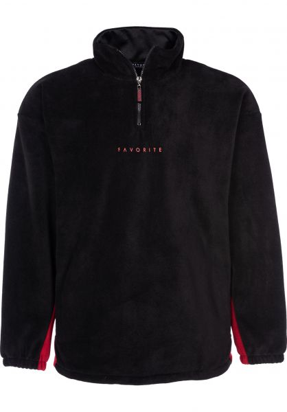 Favorite Trainingsjacken Fleece Track black-burgundy vorderansicht 0670328