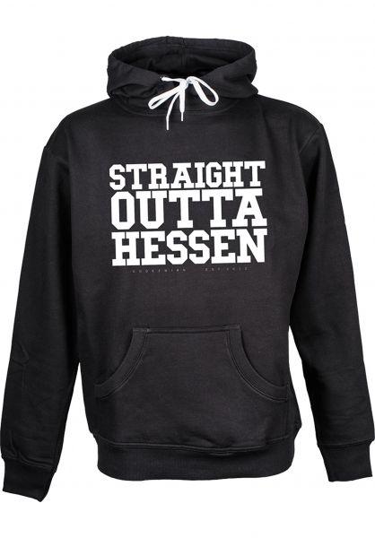 GUDE Hoodies Straight Outta Hessen black Vorderansicht
