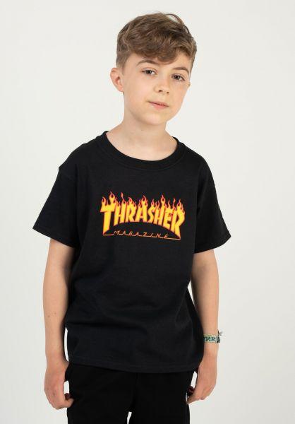 Thrasher T-Shirts Flame Kids black vorderansicht 0323205