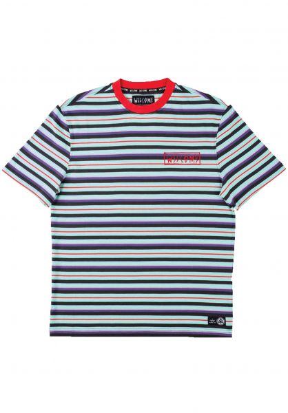 Welcome T-Shirts Surf Stripe red-purple-teal vorderansicht 0398808