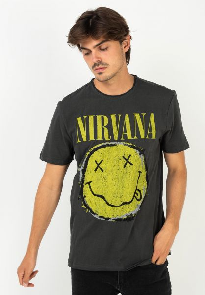 Amplified T-Shirts Nirvana Worn Out Smiley charcoal vorderansicht 0322342