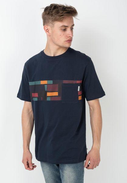 iriedaily T-Shirts Theodore Pocket 2 navy vorderansicht 0322368
