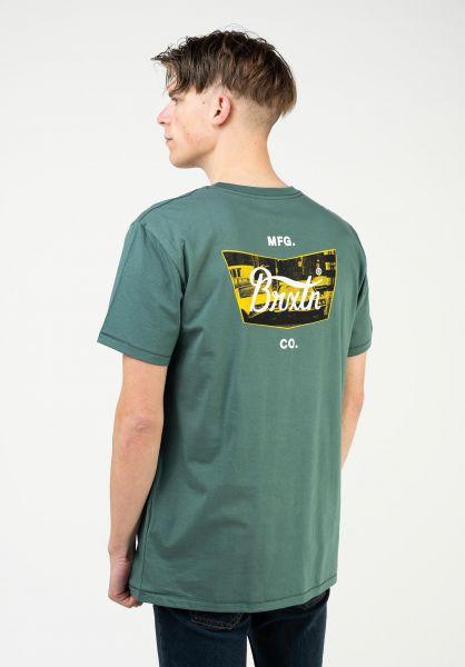 Brixton T-Shirts Stith Crash silver-pine vorderansicht 0323177