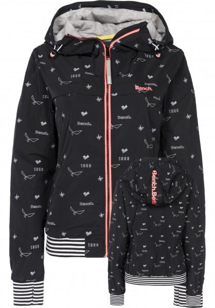 Bench Übergangsjacken Easy Jacket AOP minimalblack-white Vorderansicht