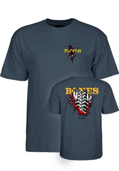 Powell-Peralta T-Shirts Shred navy-heather vorderansicht 0373849