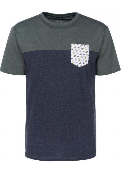 TITUS T-Shirts Avocado Pocket deepnavymottled-petrolmotteld vorderansicht 0397371