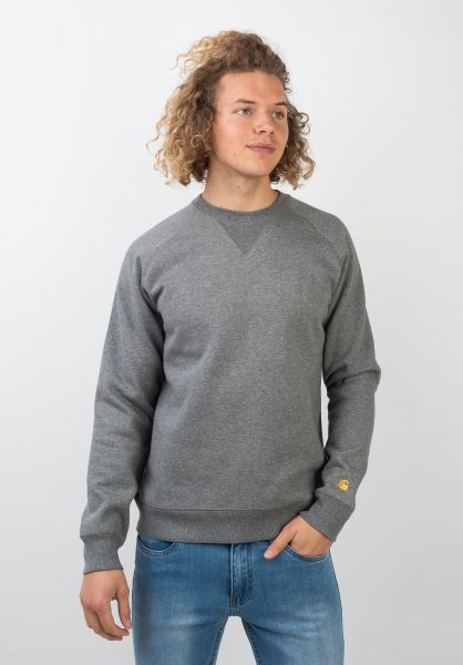 Carhartt WIP Sweatshirts und Pullover Chase greyheather-gold vorderansicht 0420832