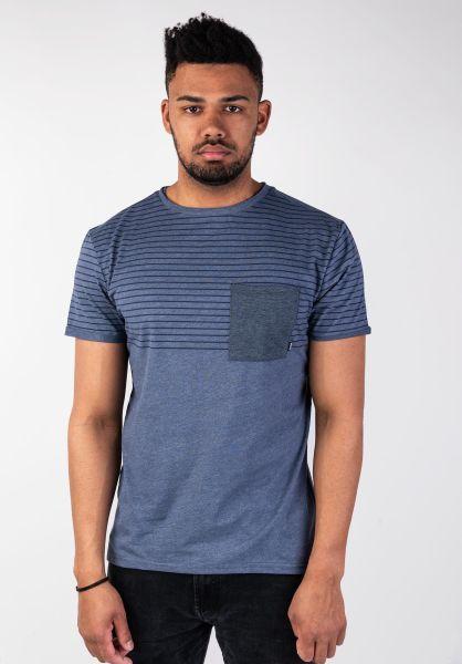 Mazine T-Shirts Felton Striped indigomelange vorderansicht 0394382