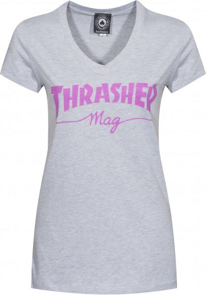 Thrasher T-Shirts Mag Logo Girls V-Neck grey Vorderansicht