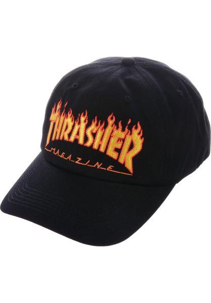 58620754bf939a Thrasher Caps Flame Old Timer Hat black vorderansicht 0565577