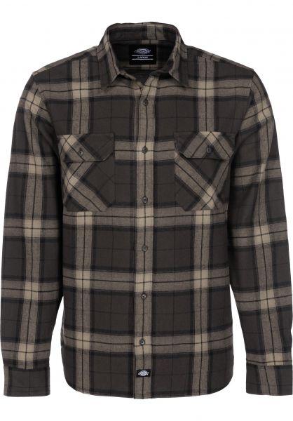 Dickies Hemden langarm Brownsburg brown vorderansicht 0411806