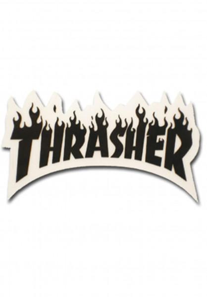 Thrasher Verschiedenes Flame Sticker Small black Vorderansicht