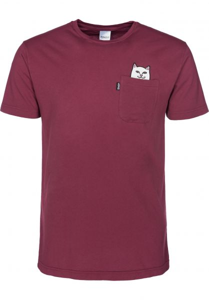 Rip N Dip T-Shirts Lord Nermal Pocket burgundy Vorderansicht