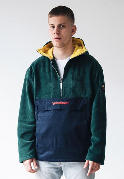 Goodbois Windbreaker Raw Fleece Anorak green vorderansicht 0122613