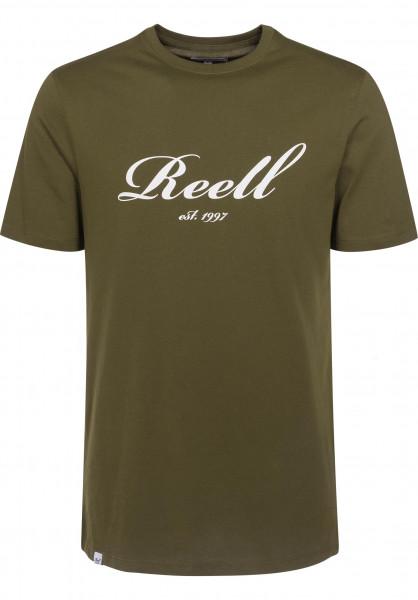 Reell T-Shirts Big Script olive Vorderansicht
