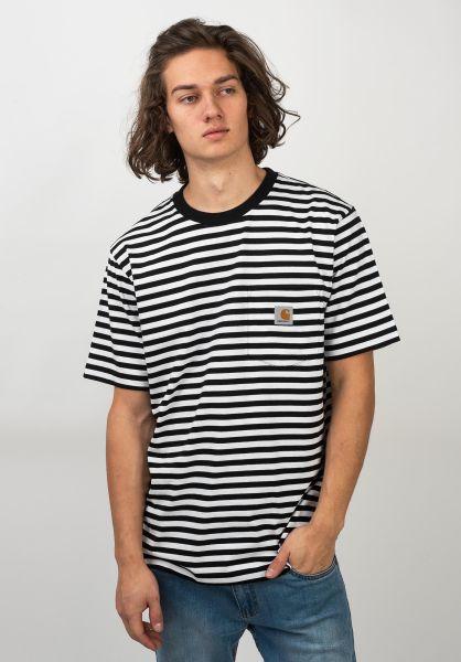 Carhartt WIP T-Shirts Haldon Pocket haldonstripe-black-white vorderansicht 0320609