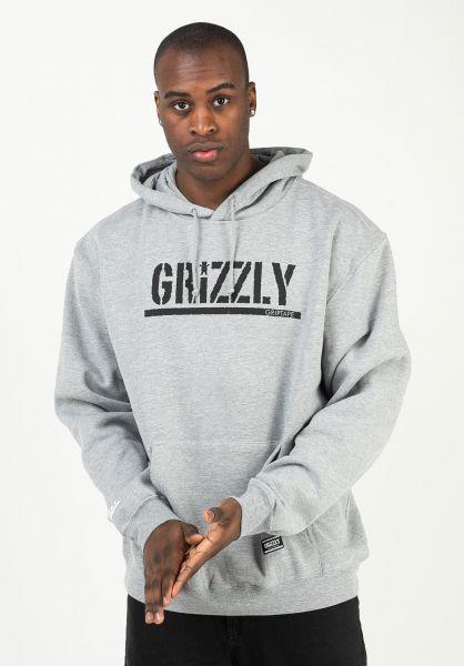 Grizzly Hoodies OG Stamp heathergrey-black vorderansicht 0446466