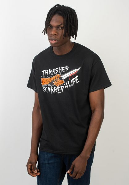 Thrasher T-Shirts Scarred black vorderansicht 0394332