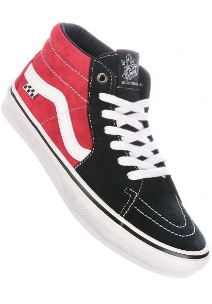 Vans Alle Schuhe Skate Grosso Mid black-red vorderansicht 0604966