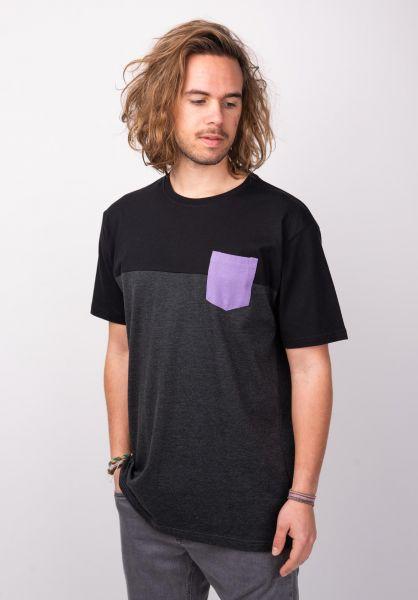 TITUS T-Shirts Colourblock Pocket darkgreymottled-black vorderansicht 0398349