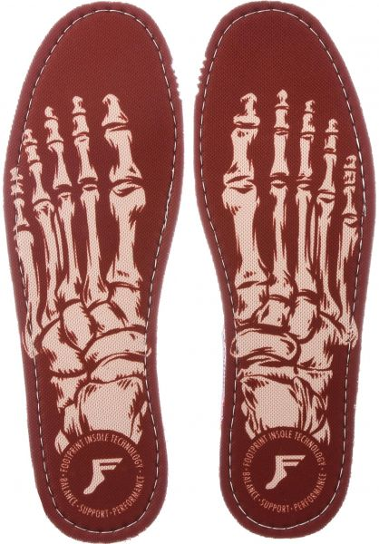 Footprint Insoles Einlegesohlen Kingfoam Flat Skeleton red-white Vorderansicht
