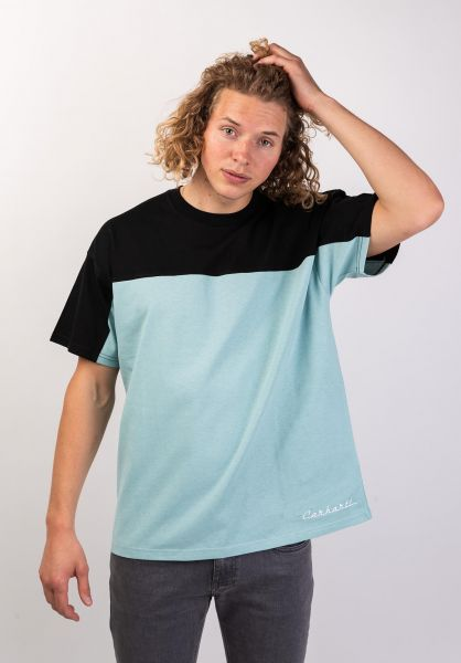Carhartt WIP T-Shirts Block Retro Script black-softaloe-white vorderansicht 0320064