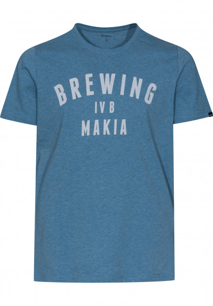 Makia T-Shirts Brewing blue-melange Vorderansicht